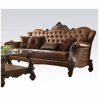 Versailles Formal Button Tufted Sofa In Light Brown Faux Leather