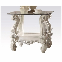 Versailles Glass Top Ornate End Table In Vintage Bone White