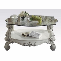 Versailles Glass Top Round Coffee Table In Vintage Bone White
