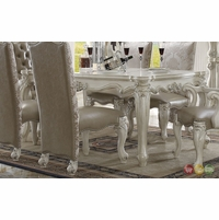 "Versailles Traditional Bone White 71"" Dining Table With Scrolled Trim"
