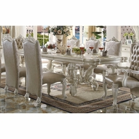 "Versailles Traditional Bone White 96"" Dining Table With Scrolled Trim"