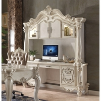 Versailles Traditional Bone White Scrolled Computer Desk And Hutch