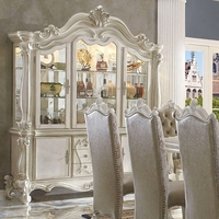 Versailles Traditional Bone White Scrolled Trim China Cabinet