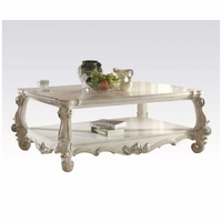 Versailles Traditional Bone White Wooden Top Rectangular Coffee Table