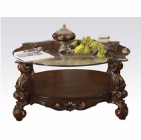 Versailles Traditional Cherry Oak Round Glass Top Coffee Table