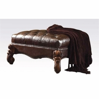 Versailles Traditional Dark Brown Faux Leather Tufted Ottoman