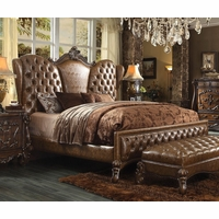 Versailles Traditional Queen Bed In Light Brown Button Tufted Faux Leather