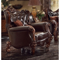 Versailles Victorian Formal Dark Brown Faux Leather Chair With Carved Wood