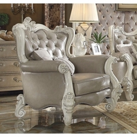 Versailles Vintage Grey Traditional Chair In Button Tufted Faux Leather