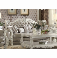 Versailles Vintage Grey Traditional Sofa In Button Tufted Faux Leather