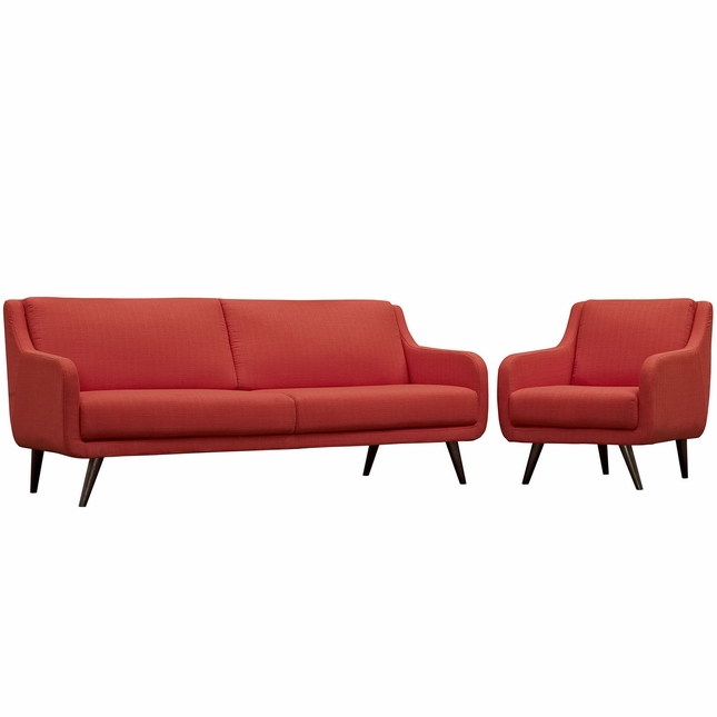 Mid-Century Modern Verve 2-pc Upholstered Sofa & Armchair Set, Atomic Red
