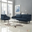 Verve Mid-century Modern 2-pc Upholstered Sofa & Armchair Set, Azure