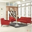 Verve Mid-century Modern 3-pc Upholstered Sofa & Armchairs Set, Atomic Red