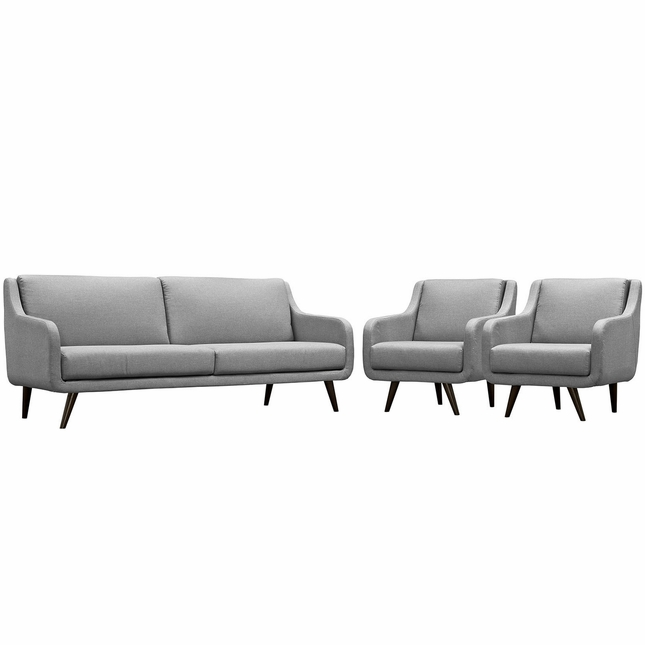 Verve Mid-century Modern 3-pc Upholstered Sofa & Armchairs Set, Light Gray