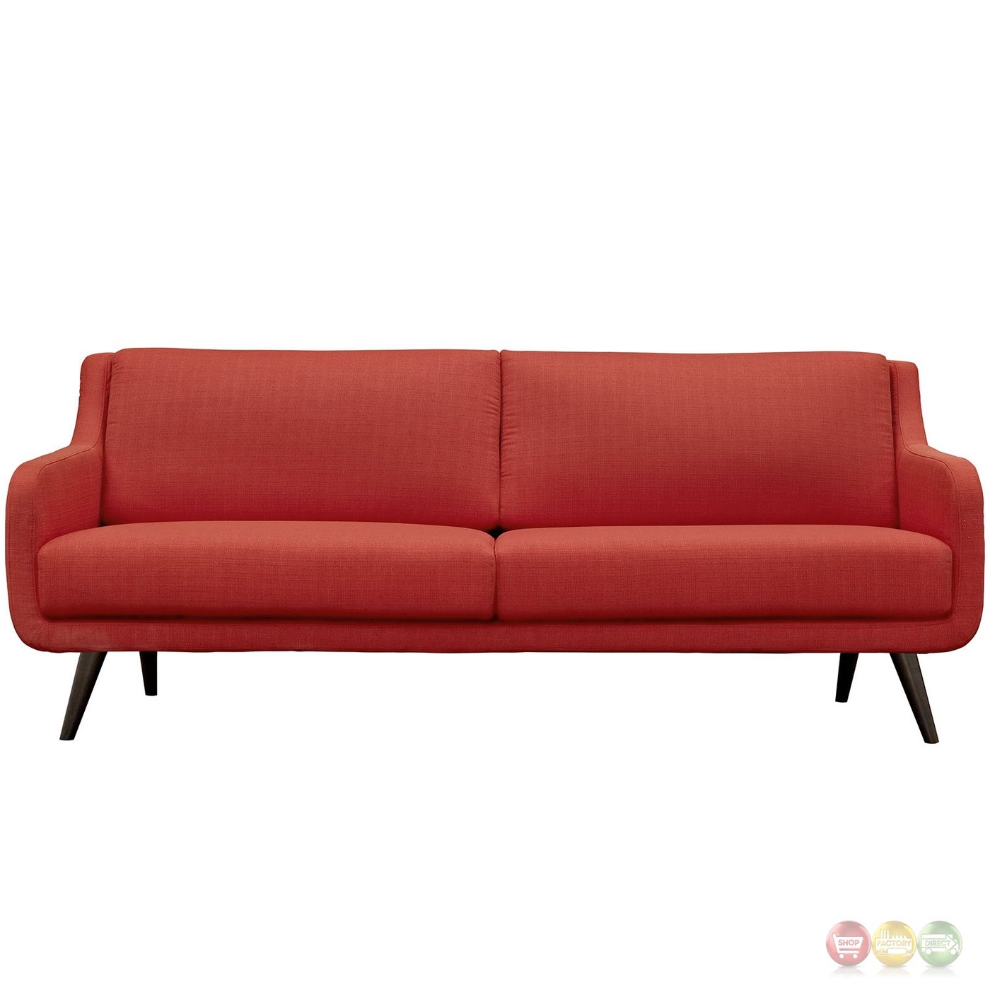 mid century modern verve upholstered sofa with wood frame atomic red