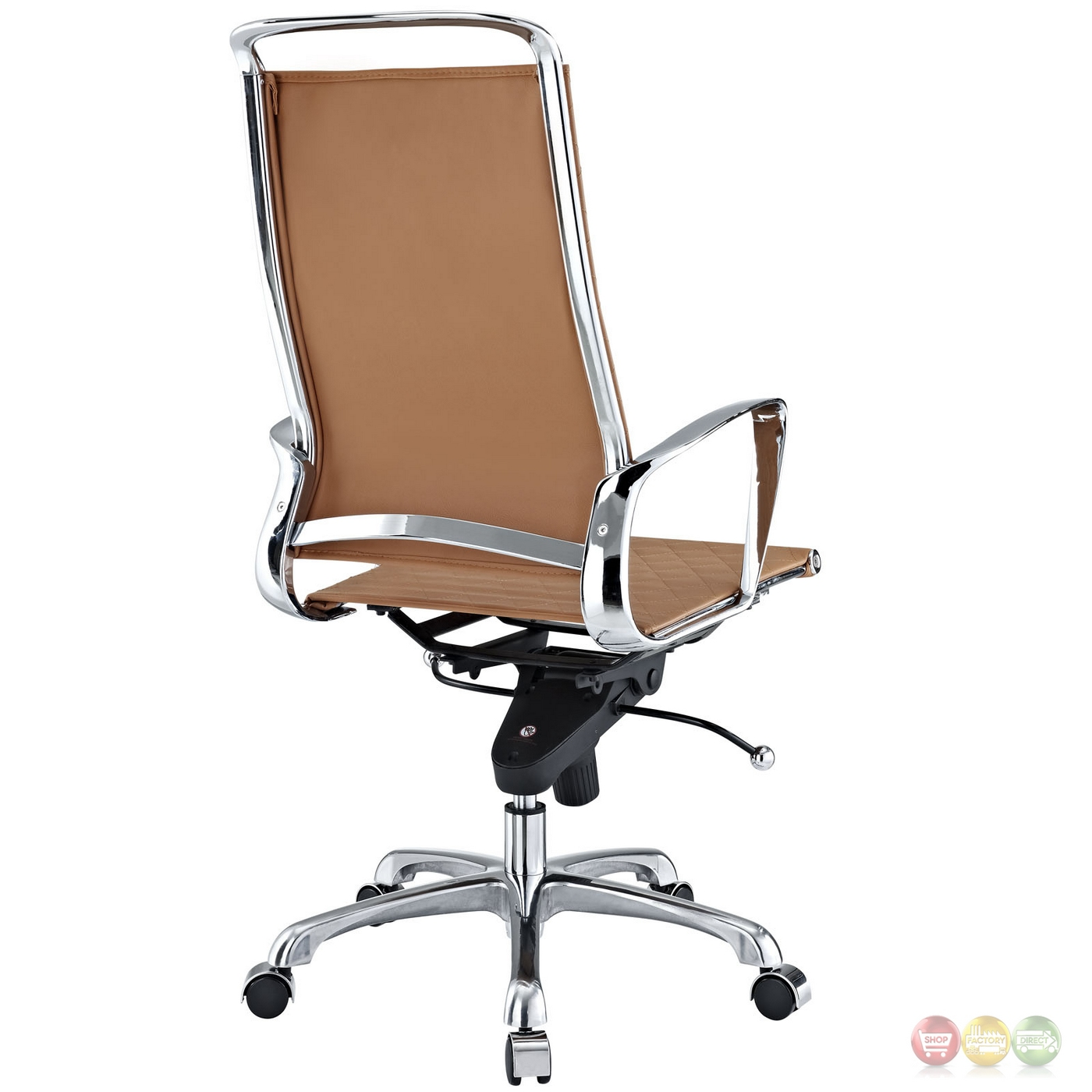 modern high back leather adjustable office chair w chrome finish tan