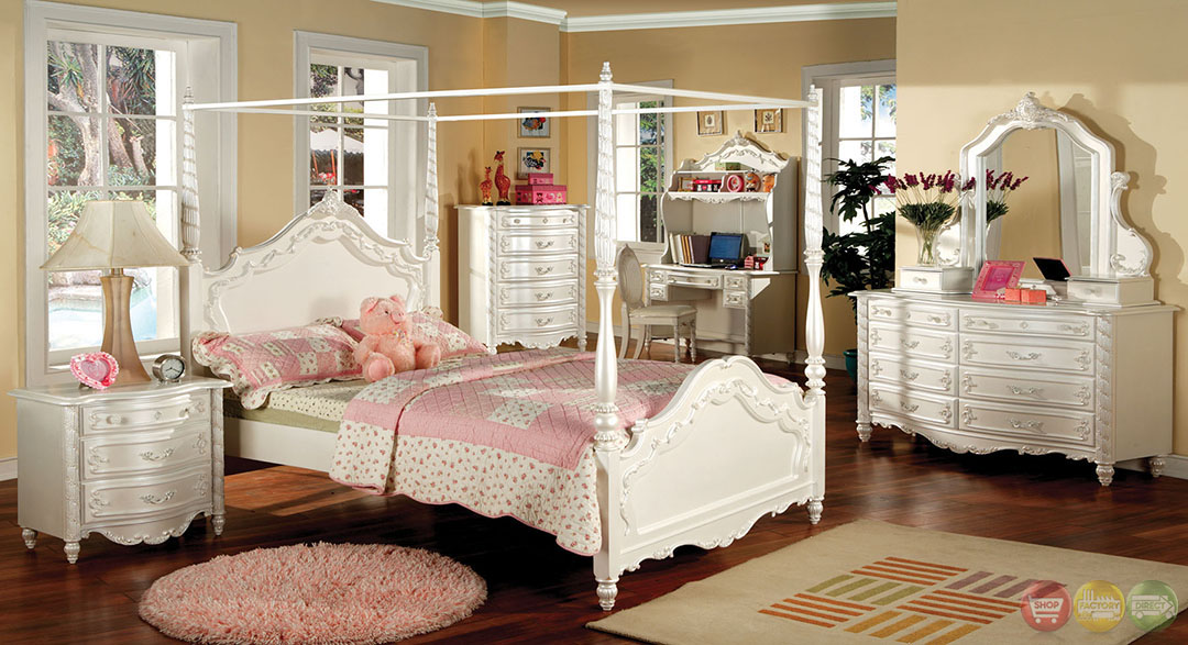 Victoria Fairy Tale Pearl White Bedroom Set With Vanity