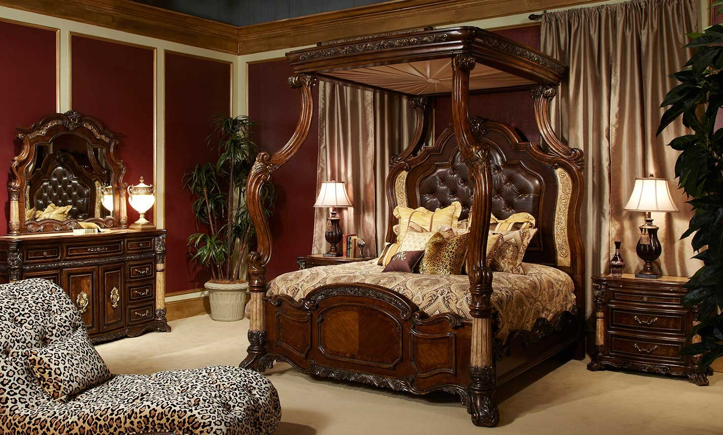 Michael Amini Victoria Palace Bedroom Set W/ Canopy Bed In