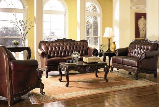 Victoria Genuine Tufted Top Grain Leather Living Room Set Exposed Wood