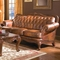 Victoria Brown Genuine Leather Tufted Sofa Carved Wood Frame Nailhead Accents