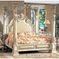 Victorian Inspired Antique White Luxury California King Poster Canopy Bed