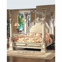 Victorian Inspired Antique White Luxury King Poster Canopy Bed