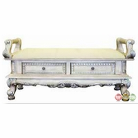 Victorian Inspired Antique White Luxury Upholstered Storage Bench