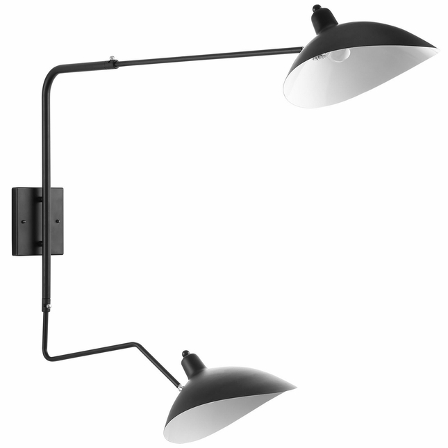 View Contemporary Adjustable Two-toned Double Fixture Wall Lamp, Black