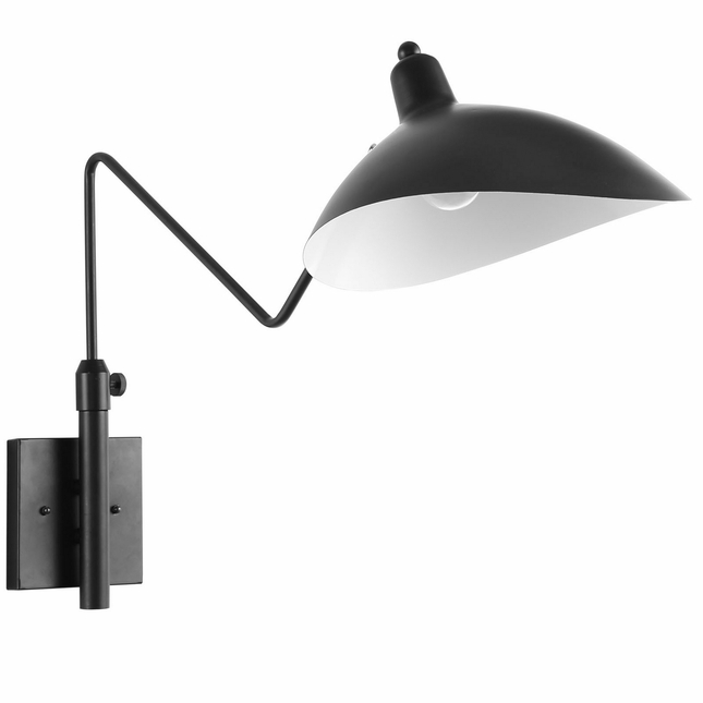 View Contemporary Adjustable Two-toned Wall Lamp, Black