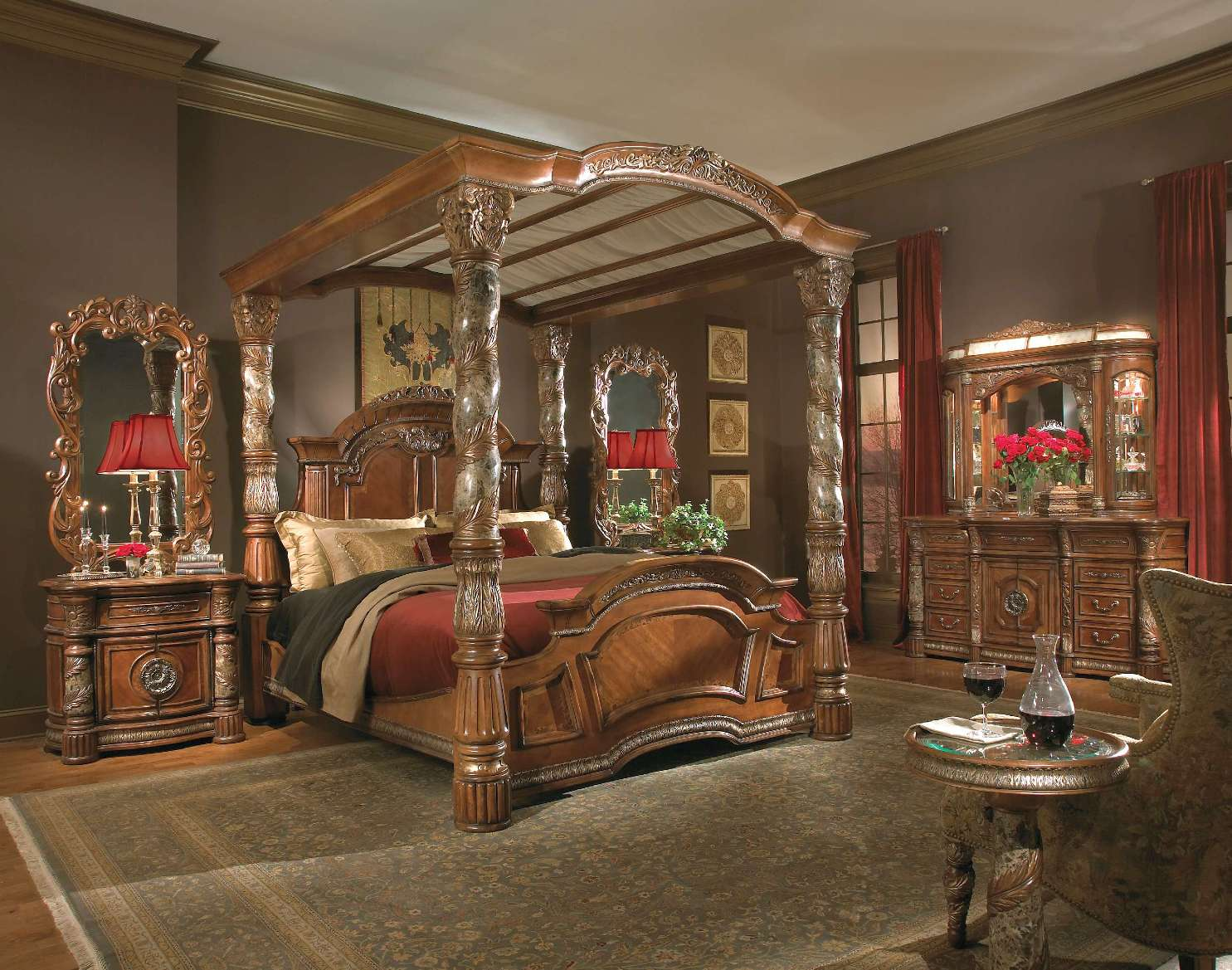 Valencia Carved Wood Traditional Bedroom Furniture Set 209000: Michael Amini Villa Valencia Traditional Luxury Poster
