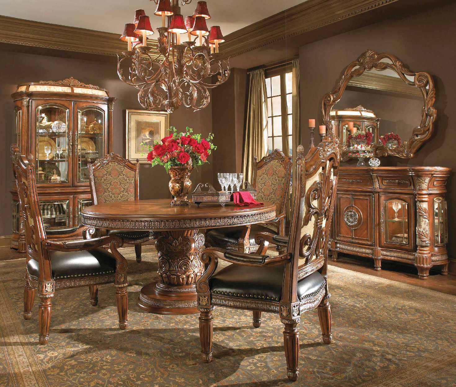 Dining Set Round Table: Michael Amini Villa Valencia Chestnut Traditional Round