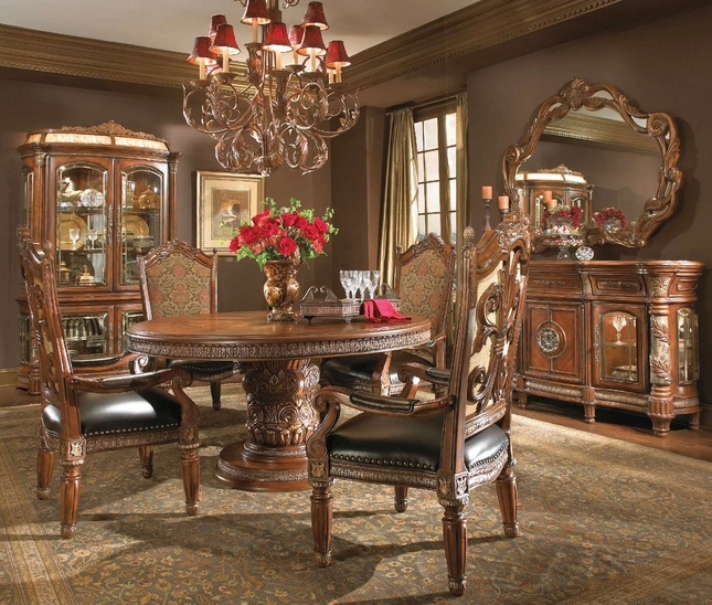Michael Amini Villa Valencia Chestnut Traditional Round Dining Table Set by AICO