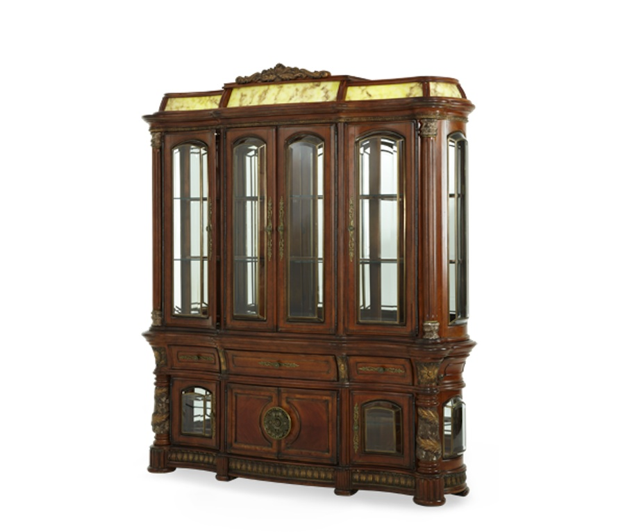 Traditional Dining Room Set: Michael Amini Villa Valencia Chestnut Traditional Round