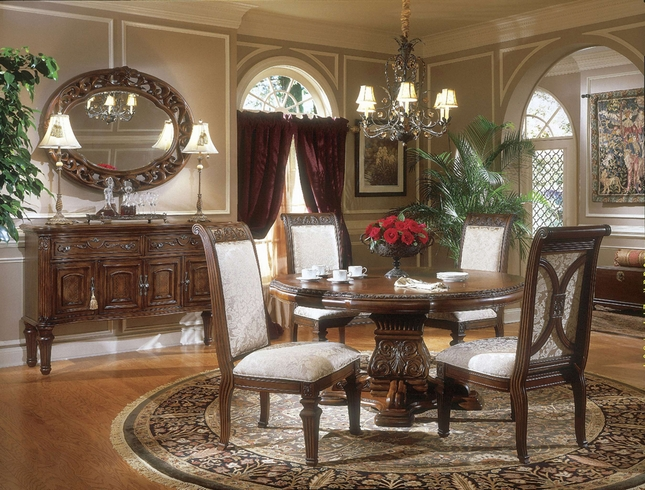 Michael Amini Villagio Hazelnut Traditional Round Table Dining Room Set by AICO