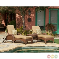 Villanova 3 Piece Weather Resistant Wicker Outdoor Chaise Lounge Set