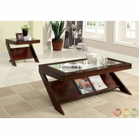 Vint Contemporary Dark Cherry Accent Tables with Magazine Display CM4004