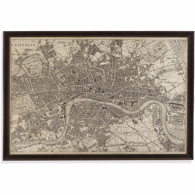 Vintage Map of London Framed Print Wall Art 9900-262EC