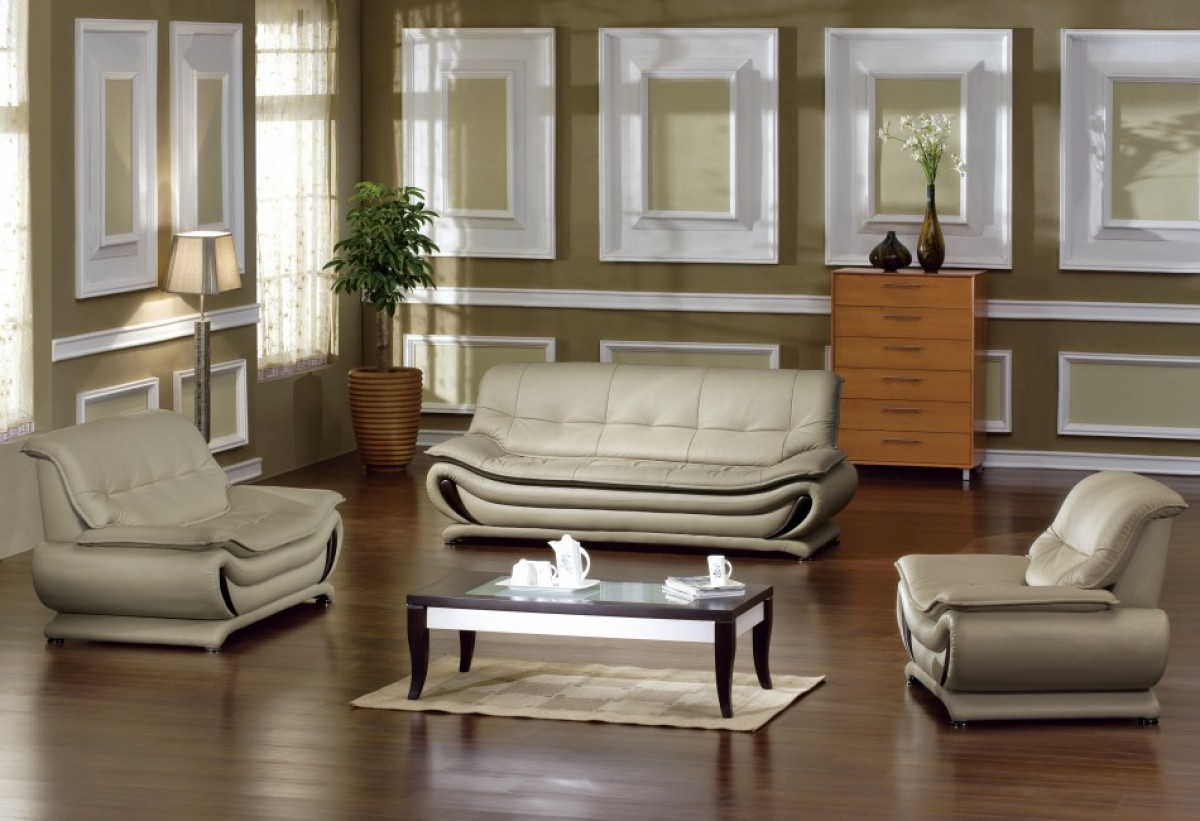 Madrid Taupe Beige Ultra Modern Living Room Furniture 3 Piece Sofa Set