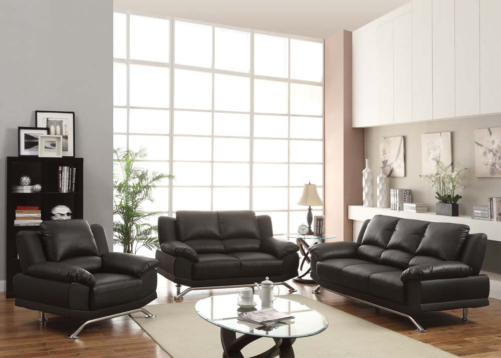 Maigan Black Ultra Modern Contemporary Living Room Furniture Sofa Set