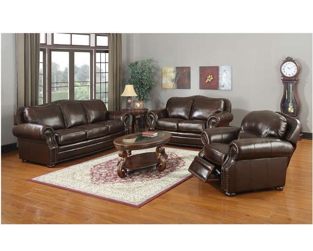 Ranchero Traditional Antique Brown Leather Sofa & Loveseat Living Room Set