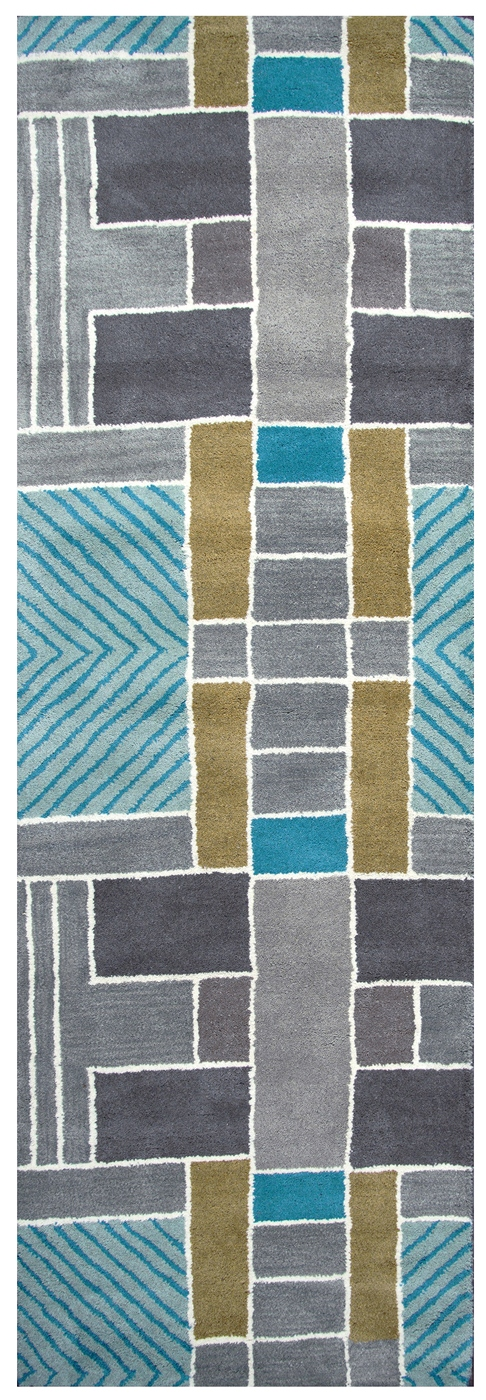 Volare Blocks Geometric Wool Runner Rug In Gray Teal Gold