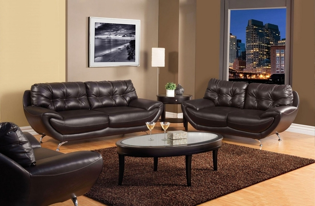 Volos Modern Espresso Living Room Set with Rounded Edges SM6081