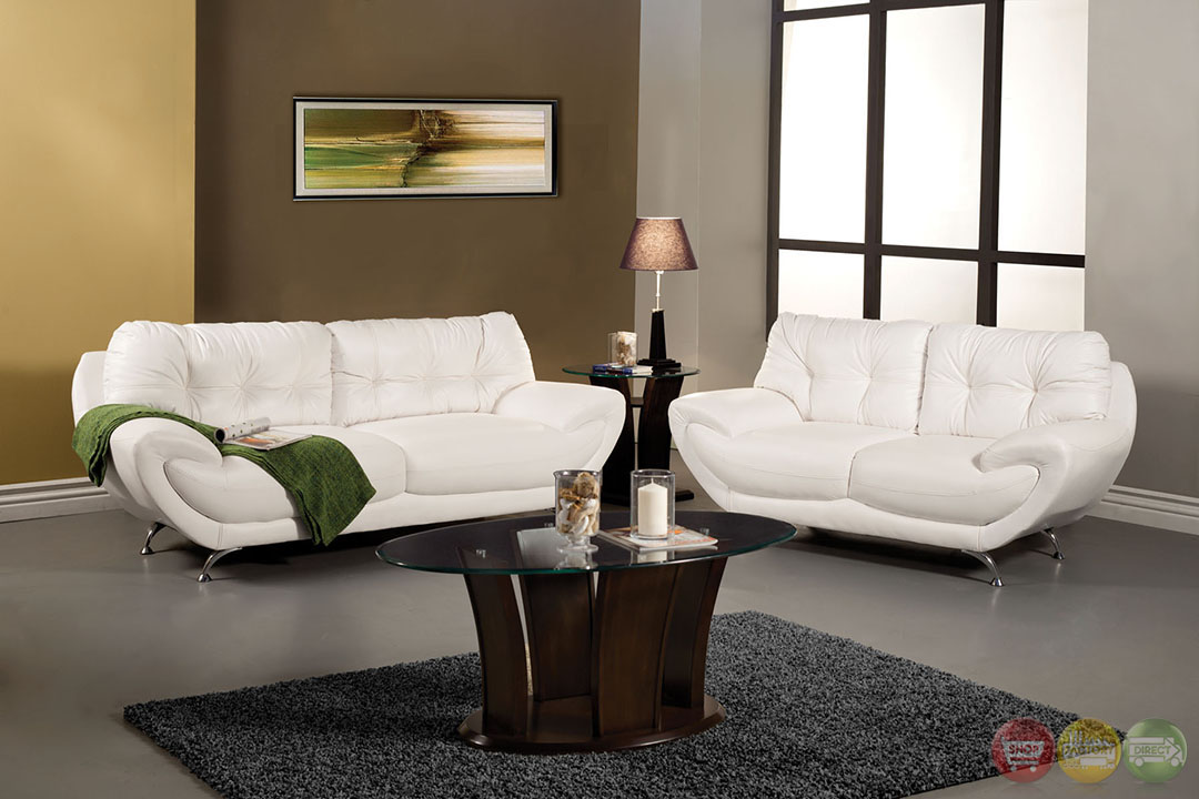 Volos Modern White Living Room Set with Rounded Edges SM6083