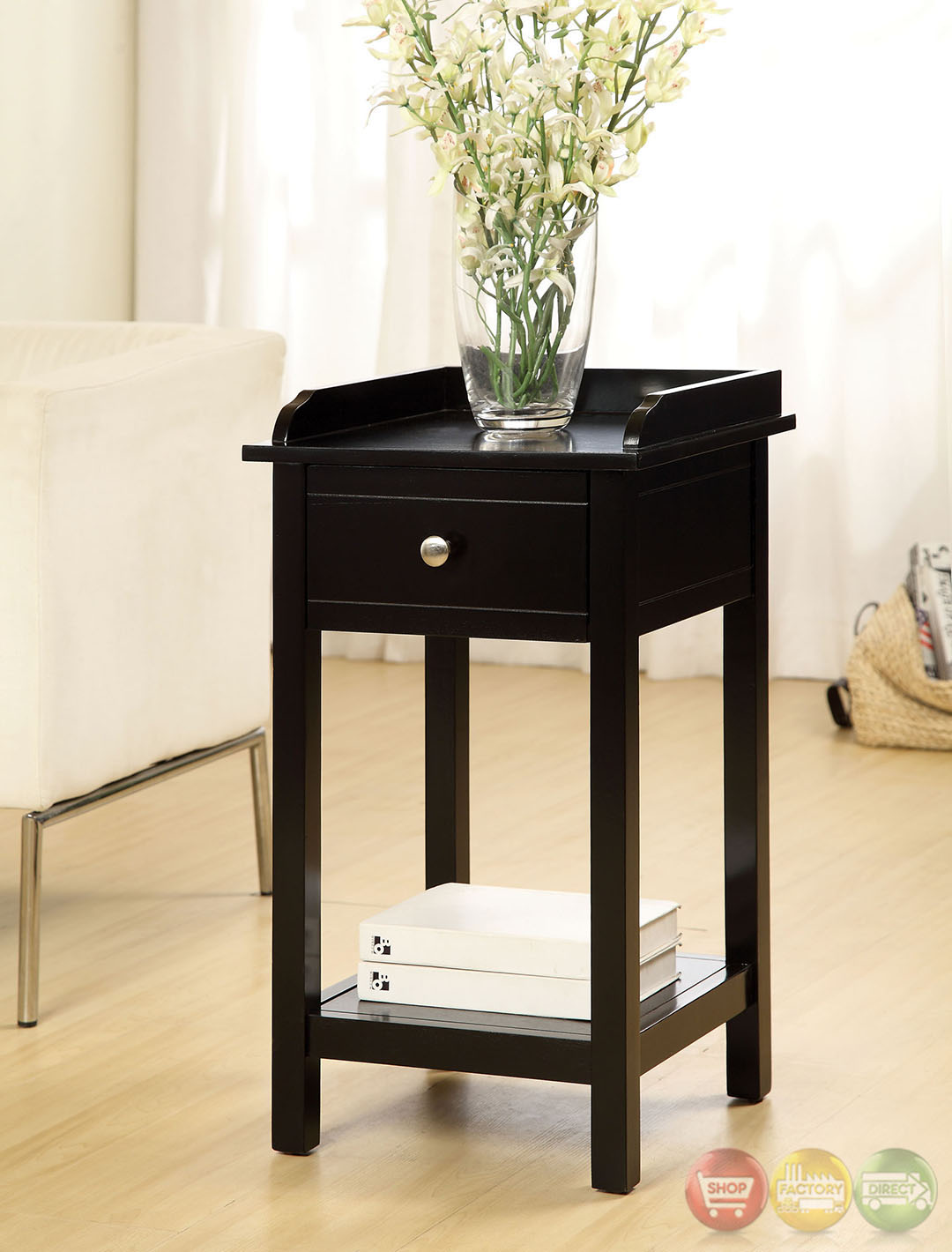 Voula Contemporary Black Accent Table with Drawer