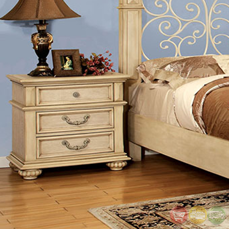 waldenburg traditional antique white bedroom set with floral metal