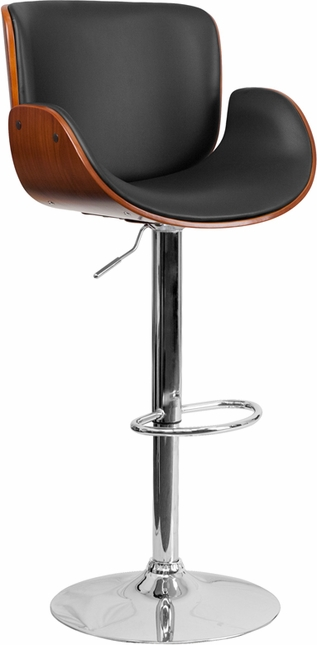 Walnut Bentwood Adjustable Height Barstool With Curved Black Vinyl Seat