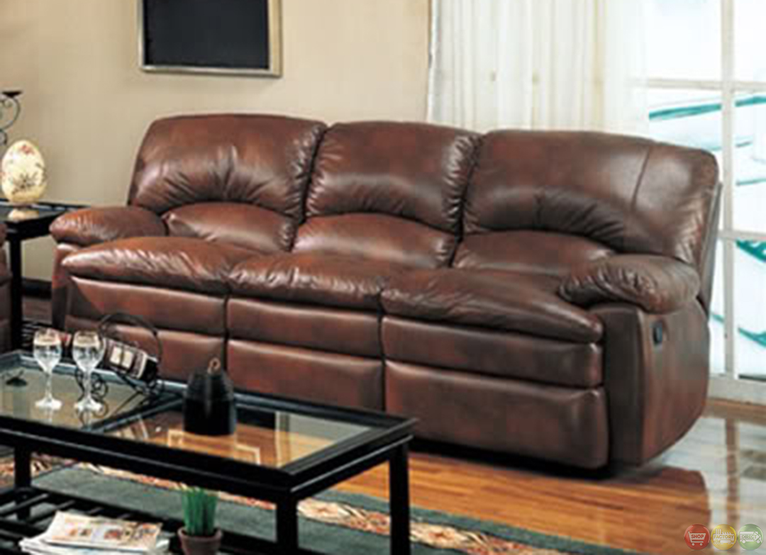 Walter Reclining Sofa And Love Seat Brown Bonded Leather Living Room Set