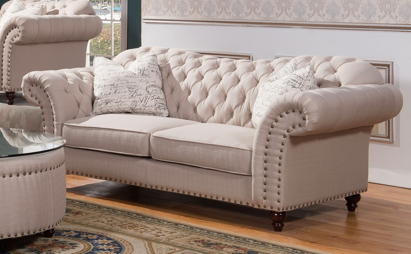 Walton Classic Sweetheart Button Tufted Sofa Amp Loveseat