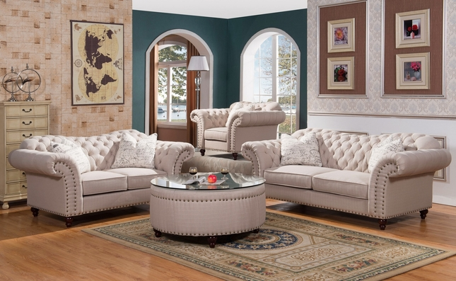 Walton Classic Sweetheart Button Tufted Sofa & Loveseat Set In Beige Linen