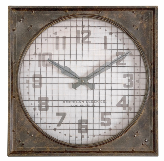 Warehouse Clock Traditional Mottled Rust Brown Wall Clock with Grill 06083